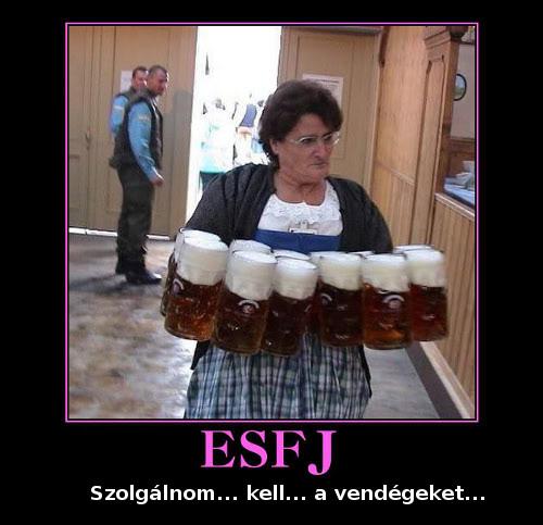 ESFP gondoskodó 6 korsó sört visz a kezében